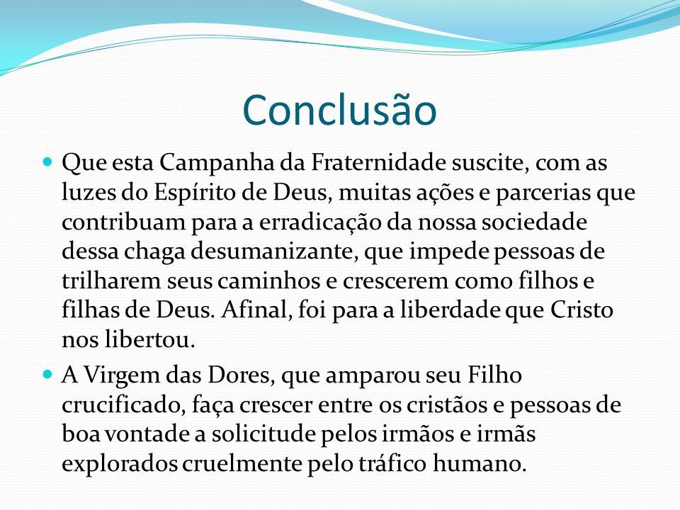 Conclusão Que esta Campanha da Fraternidade suscite, com as luzes do Espírito de Deus, muitas ações e parcerias que contribuam para a erradicação da n