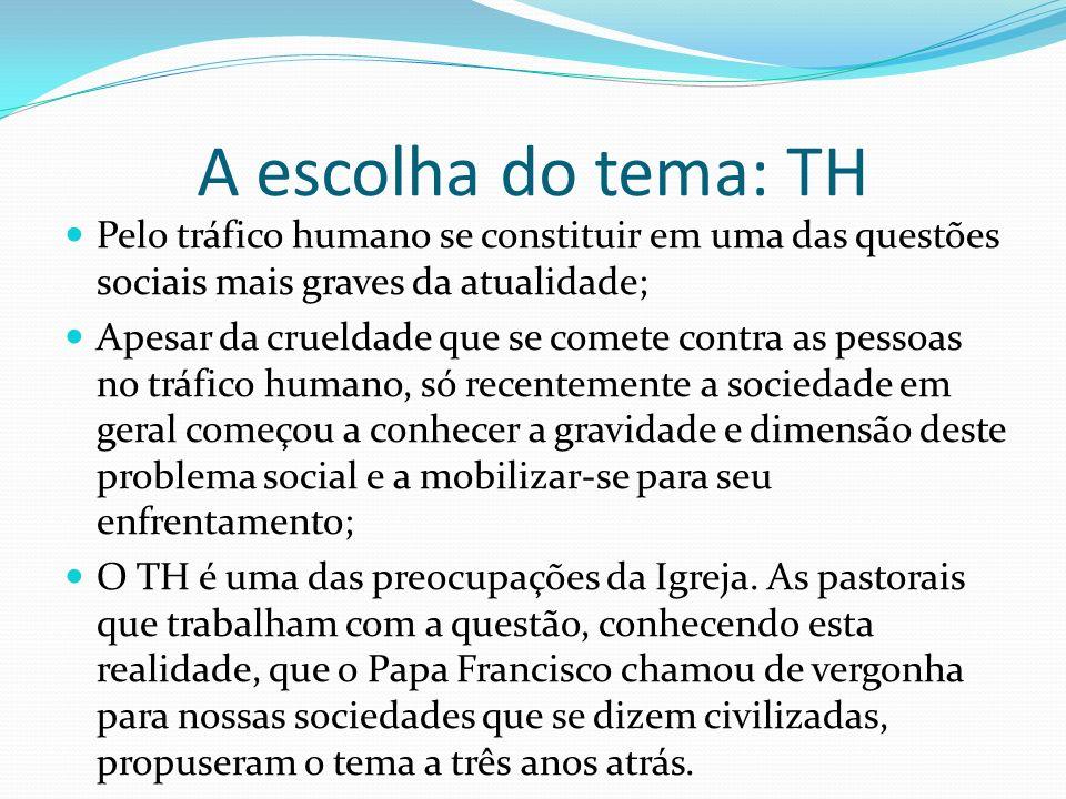 A escolha do tema: TH Pelo tráfico humano se constituir em uma das questões sociais mais graves da atualidade; Apesar da crueldade que se comete contr