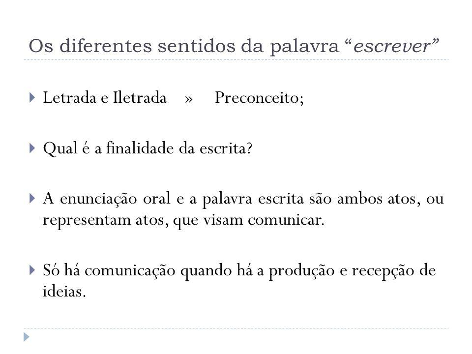 Os diferentes sentidos da palavra escrever Letrada e Iletrada » Preconceito; Qual é a finalidade da escrita? A enunciação oral e a palavra escrita são