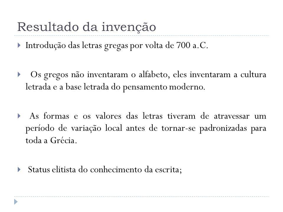 Resultado da invenção Introdução das letras gregas por volta de 700 a.C. Os gregos não inventaram o alfabeto, eles inventaram a cultura letrada e a ba