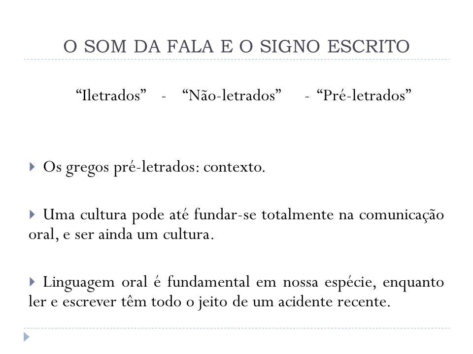 O SOM DA FALA E O SIGNO ESCRITO Iletrados - Não-letrados - Pré-letrados Os gregos pré-letrados: contexto. Uma cultura pode até fundar-se totalmente na