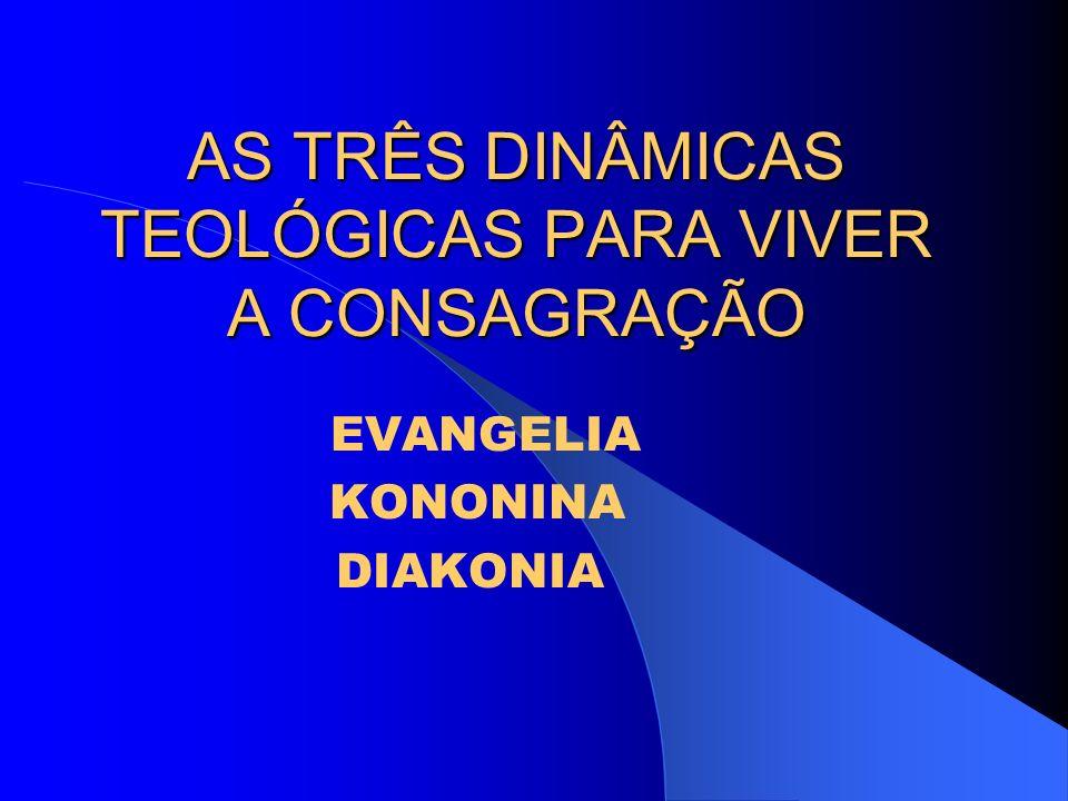 AS TRÊS DINÂMICAS TEOLÓGICAS PARA VIVER A CONSAGRAÇÃO EVANGELIA KONONINA DIAKONIA