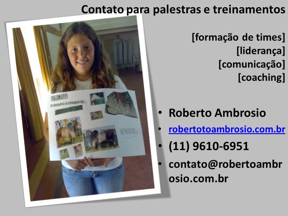 Contato para palestras e treinamentos [formação de times] [liderança] [comunicação] [coaching] Roberto Ambrosio robertotoambrosio.com.br (11) 9610-695