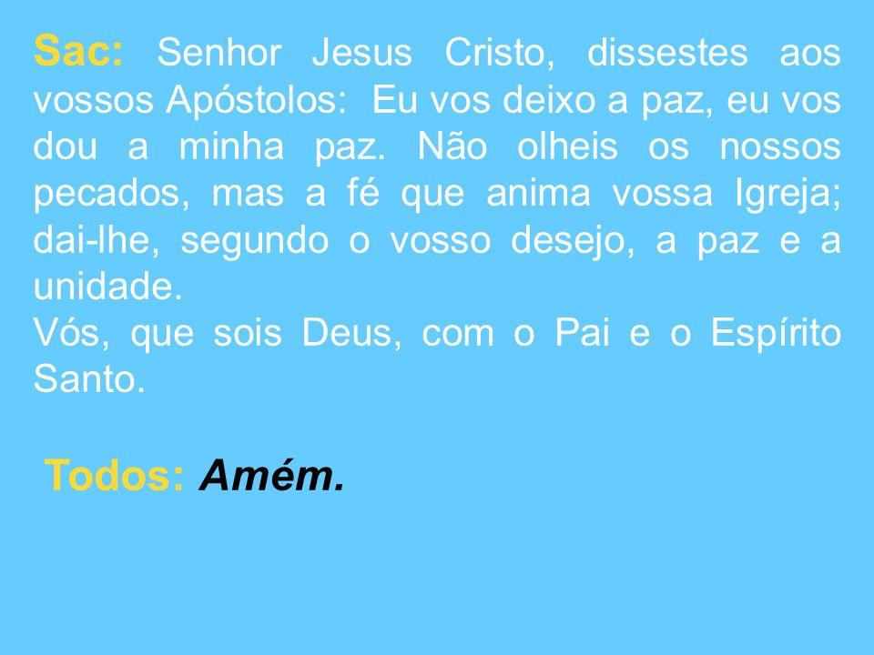Sac: Senhor Jesus Cristo, dissestes aos vossos Apóstolos: Eu vos deixo a paz, eu vos dou a minha paz.
