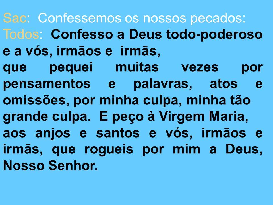 Sac: Confessemos os nossos pecados: Todos: Confesso a Deus todo-poderoso e a vós, irmãos e irmãs, que pequei muitas vezes por pensamentos e palavras, atos e omissões, por minha culpa, minha tão grande culpa.