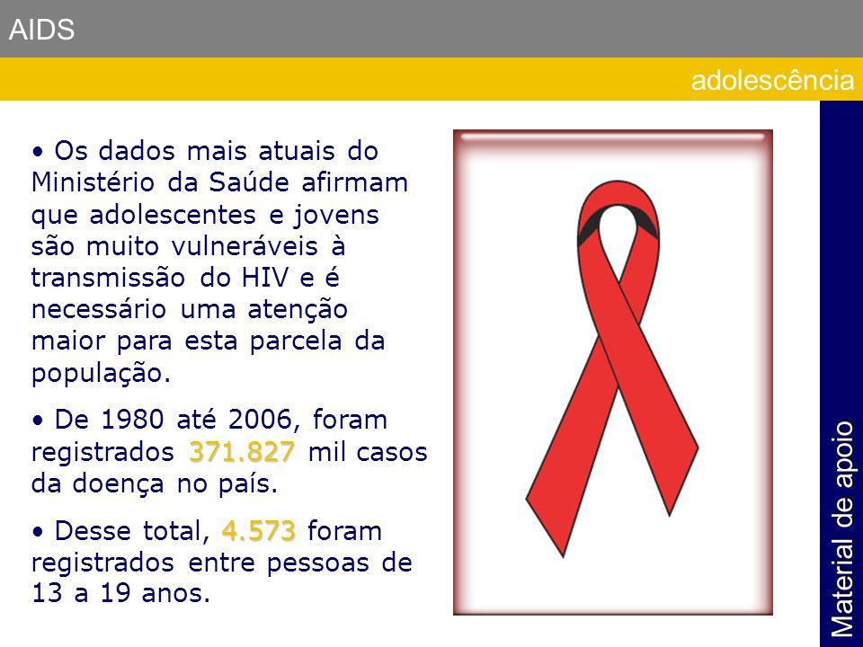 AIDS Os dados mais atuais do Ministério da Saúde afirmam que adolescentes e jovens são muito vulneráveis à transmissão do HIV e é necessário uma atenç
