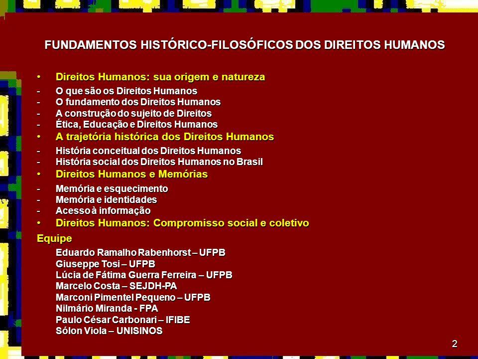 2 FUNDAMENTOS HISTÓRICO-FILOSÓFICOS DOS DIREITOS HUMANOS Direitos Humanos: sua origem e naturezaDireitos Humanos: sua origem e natureza -O que são os