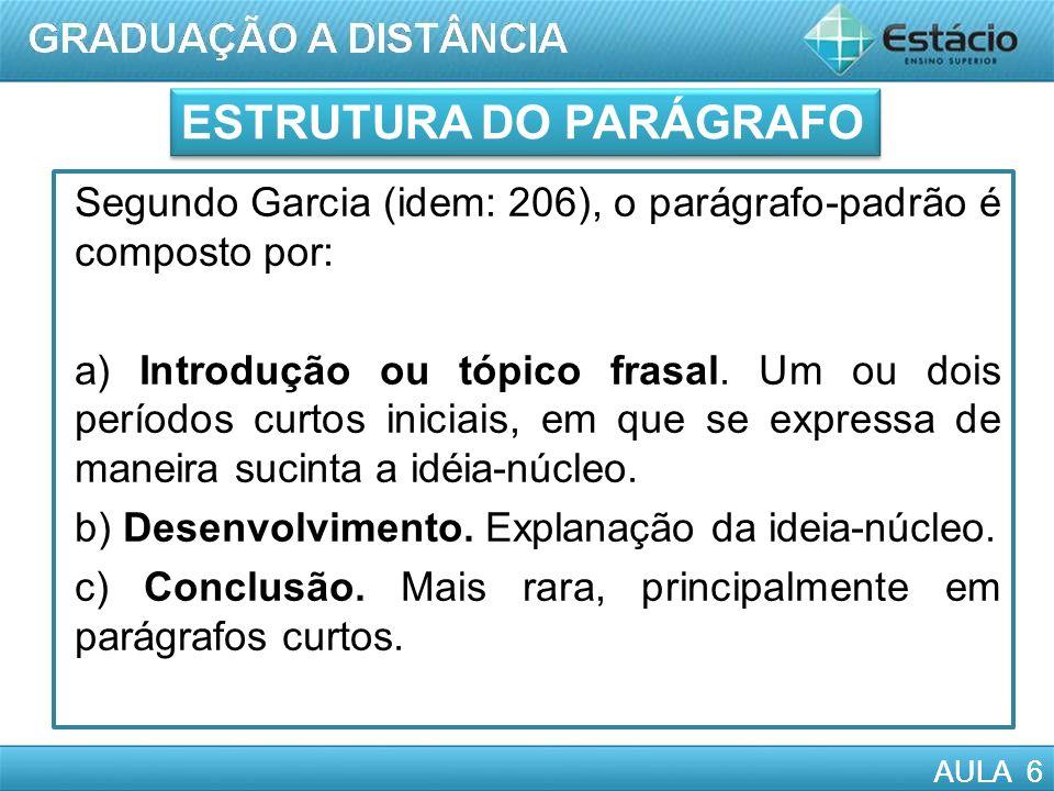 AULA 6 Segundo Garcia (idem: 206), o parágrafo-padrão é composto por: a) Introdução ou tópico frasal. Um ou dois períodos curtos iniciais, em que se e