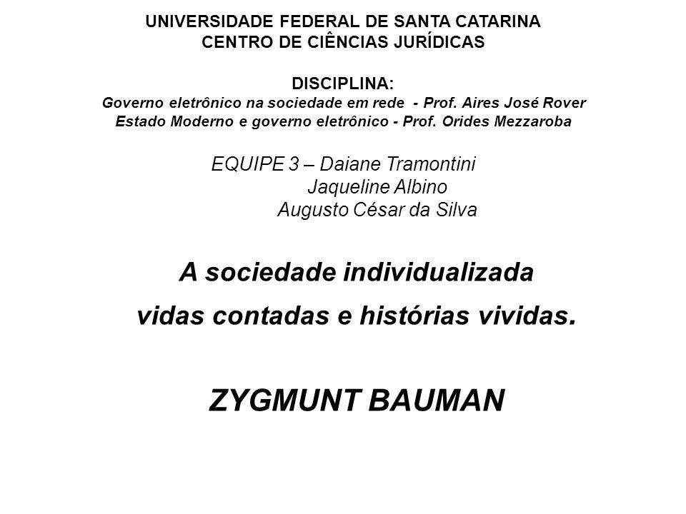UNIVERSIDADE FEDERAL DE SANTA CATARINA CENTRO DE CIÊNCIAS JURÍDICAS DISCIPLINA: Governo eletrônico na sociedade em rede - Prof. Aires José Rover Estad
