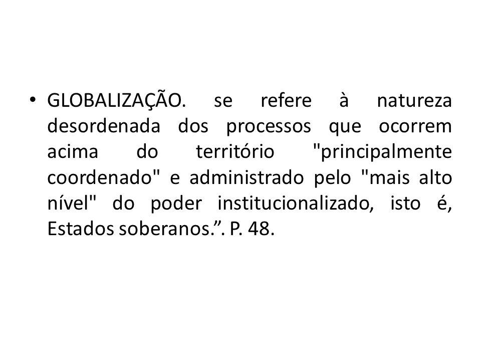 GLOBALIZAÇÃO. se refere à natureza desordenada dos processos que ocorrem acima do território