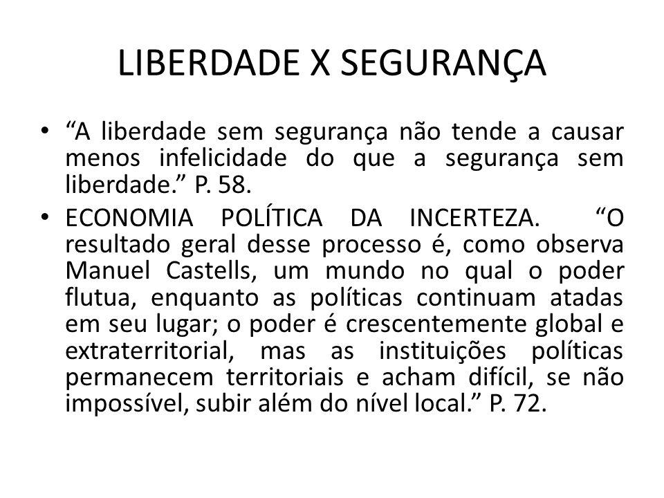 LIBERDADE X SEGURANÇA A liberdade sem segurança não tende a causar menos infelicidade do que a segurança sem liberdade. P. 58. ECONOMIA POLÍTICA DA IN