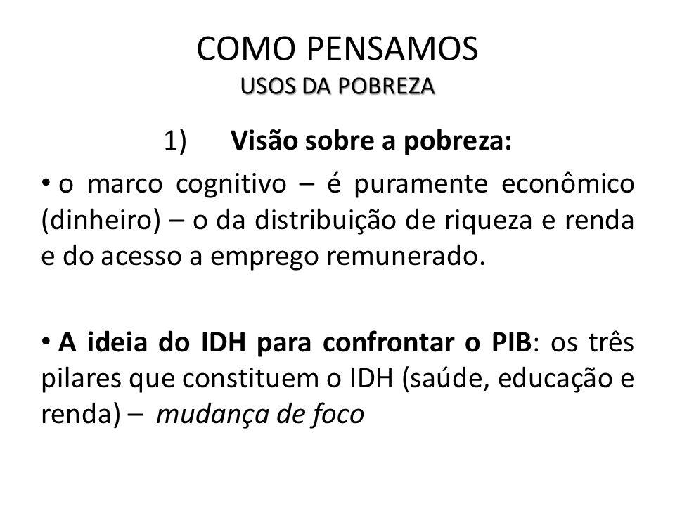 USOS DA POBREZA COMO PENSAMOS USOS DA POBREZA 1)Visão sobre a pobreza: o marco cognitivo – é puramente econômico (dinheiro) – o da distribuição de riq