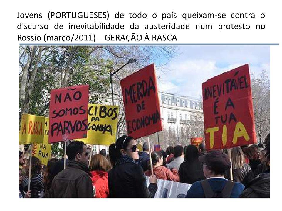 Jovens (PORTUGUESES) de todo o país queixam-se contra o discurso de inevitabilidade da austeridade num protesto no Rossio (março/2011) – GERAÇÃO À RAS