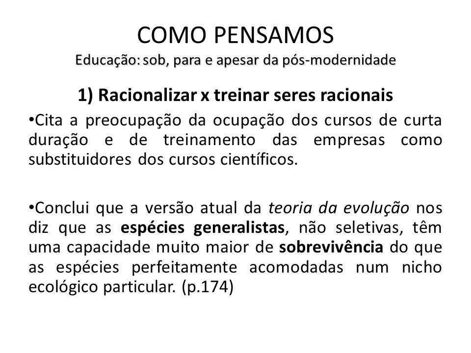 Educação: sob, para e apesar da pós-modernidade COMO PENSAMOS Educação: sob, para e apesar da pós-modernidade 1) Racionalizar x treinar seres racionai