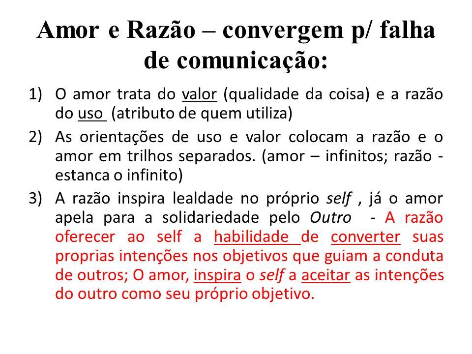 Amor e Razão – convergem p/ falha de comunicação: 1)O amor trata do valor (qualidade da coisa) e a razão do uso (atributo de quem utiliza) 2)As orient