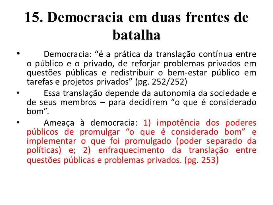 15. Democracia em duas frentes de batalha Democracia: é a prática da translação contínua entre o público e o privado, de reforjar problemas privados e