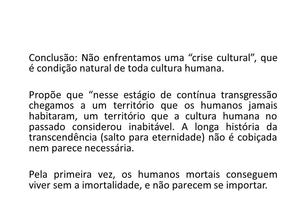 Conclusão: Não enfrentamos uma crise cultural, que é condição natural de toda cultura humana. Propõe que nesse estágio de contínua transgressão chegam