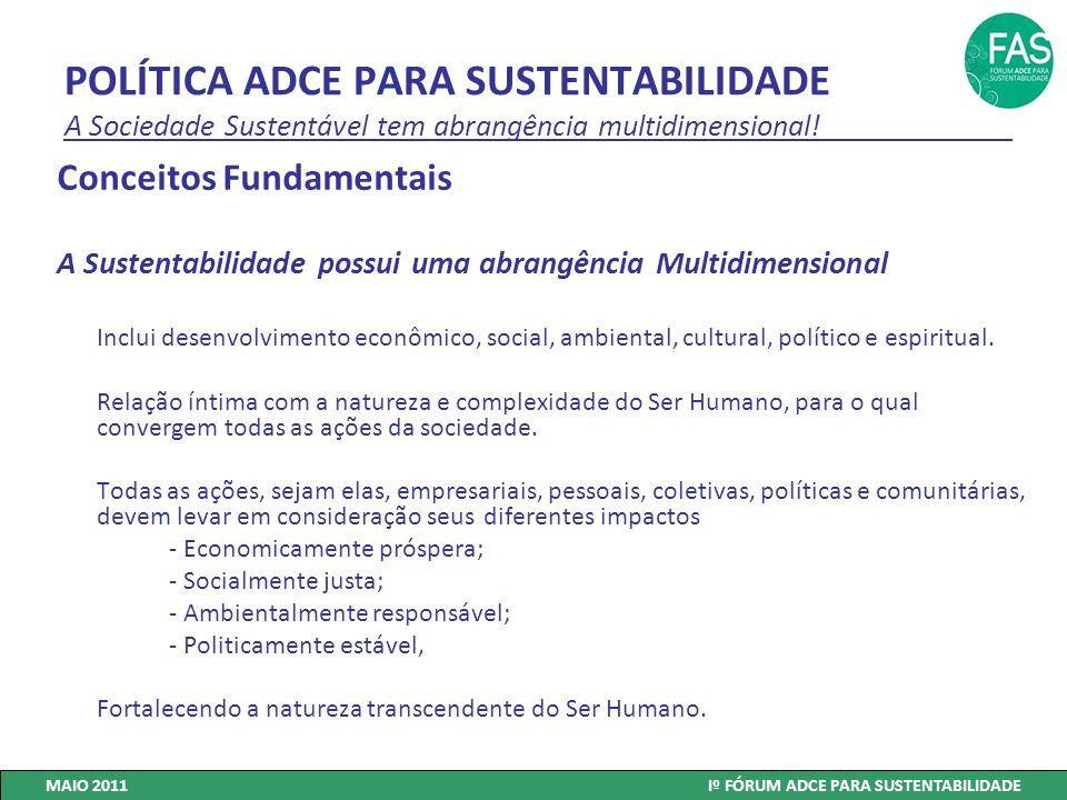 POLÍTICA ADCE PARA SUSTENTABILIDADE A Sociedade Sustentável tem abrangência multidimensional! Conceitos Fundamentais A Sustentabilidade possui uma abr