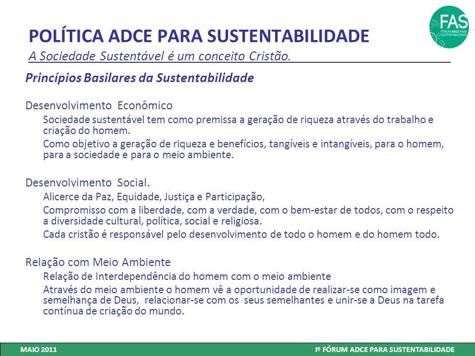POLÍTICA ADCE PARA SUSTENTABILIDADE A Sociedade Sustentável é um conceito Cristão. Princípios Basilares da Sustentabilidade Desenvolvimento Econômico