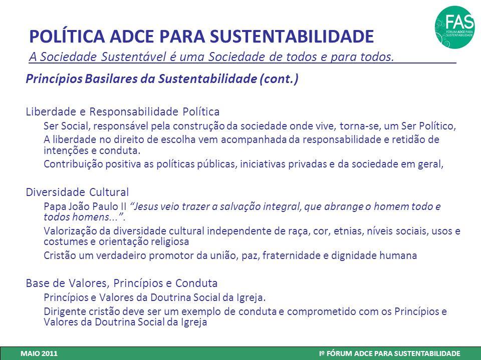 POLÍTICA ADCE PARA SUSTENTABILIDADE A Sociedade Sustentável é uma Sociedade de todos e para todos. Princípios Basilares da Sustentabilidade (cont.) Li