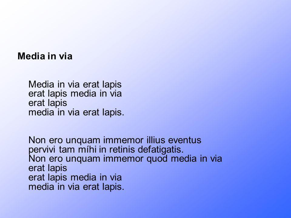 Media in via Media in via erat lapis erat lapis media in via erat lapis media in via erat lapis. Non ero unquam immemor illius eventus pervivi tam míh
