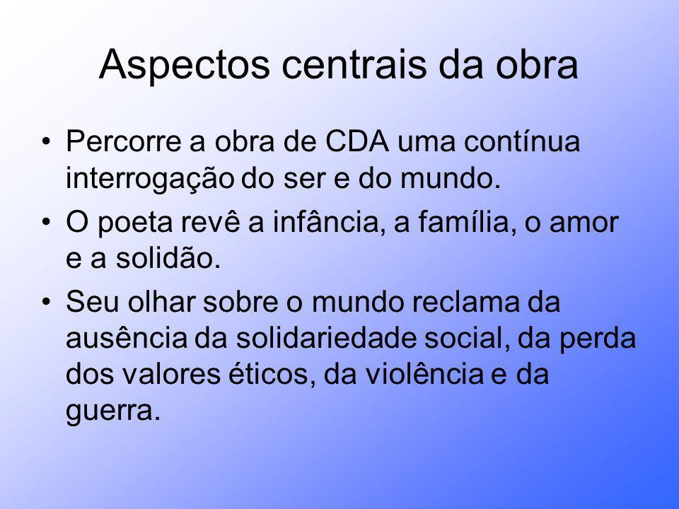 Aspectos centrais da obra Percorre a obra de CDA uma contínua interrogação do ser e do mundo.