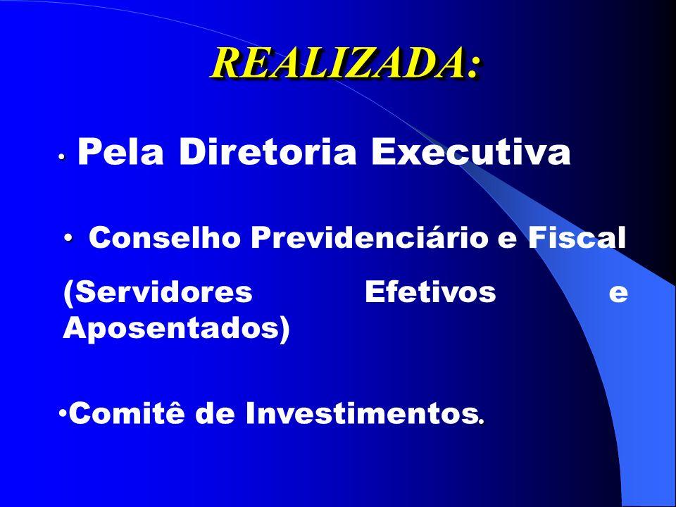 REALIZADA:REALIZADA: Pela Diretoria Executiva Conselho Previdenciário e Fiscal (Servidores Efetivos e Aposentados).
