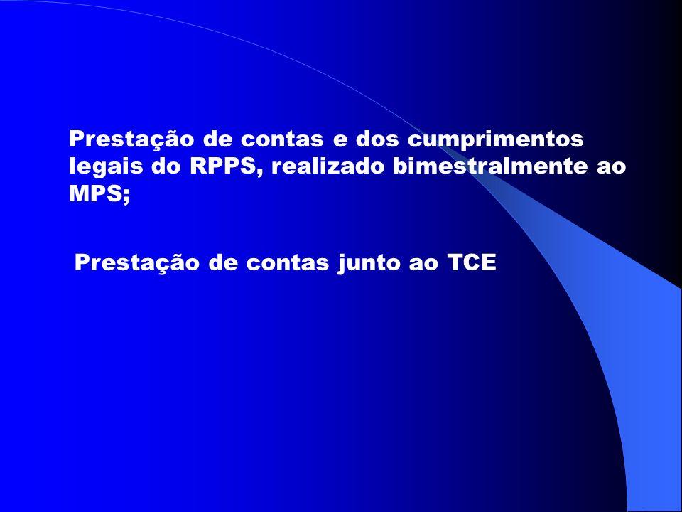 Prestação de contas e dos cumprimentos legais do RPPS, realizado bimestralmente ao MPS; Prestação de contas junto ao TCE