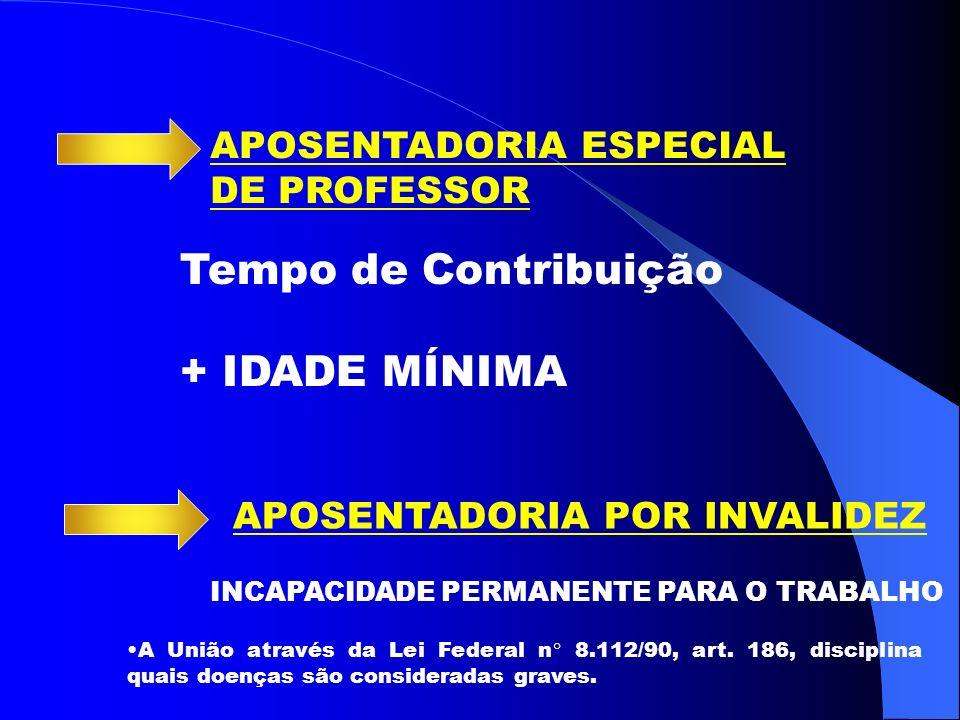 APOSENTADORIA ESPECIAL DE PROFESSOR Tempo de Contribuição + IDADE MÍNIMA APOSENTADORIA POR INVALIDEZ INCAPACIDADE PERMANENTE PARA O TRABALHO A União através da Lei Federal n° 8.112/90, art.