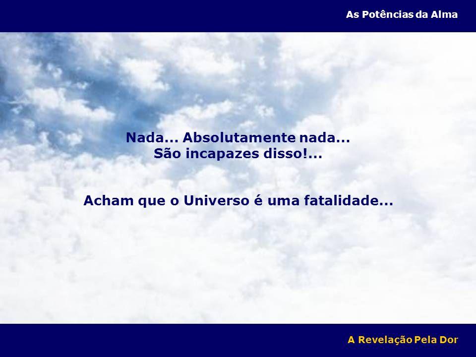 Nada... Absolutamente nada... São incapazes disso!... Acham que o Universo é uma fatalidade... A Revelação Pela Dor As Potências da Alma