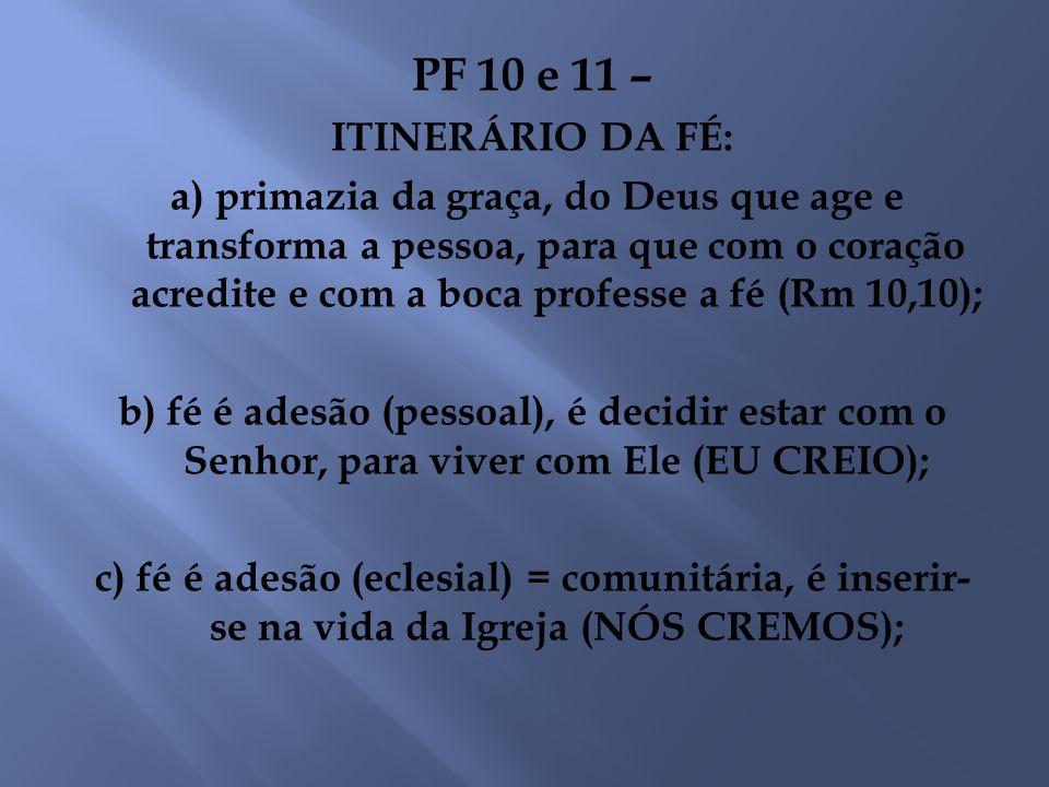 PF 10 e 11 – ITINERÁRIO DA FÉ: a) primazia da graça, do Deus que age e transforma a pessoa, para que com o coração acredite e com a boca professe a fé