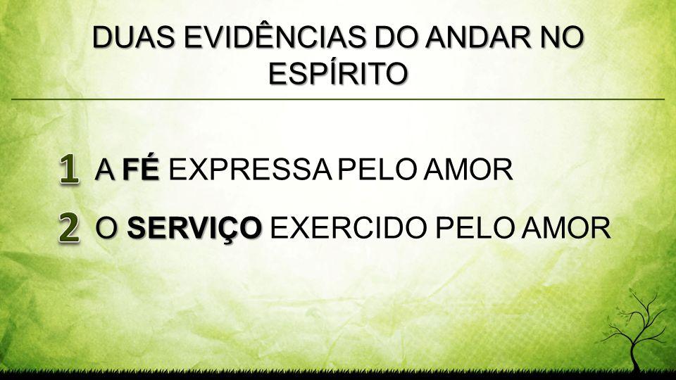 DUAS EVIDÊNCIAS DO ANDAR NO ESPÍRITO A FÉ A FÉ EXPRESSA PELO AMOR O SERVIÇO O SERVIÇO EXERCIDO PELO AMOR