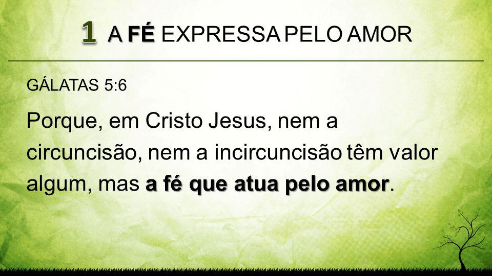 A FÉ A FÉ EXPRESSA PELO AMOR a fé que atua pelo amor Porque, em Cristo Jesus, nem a circuncisão, nem a incircuncisão têm valor algum, mas a fé que atu