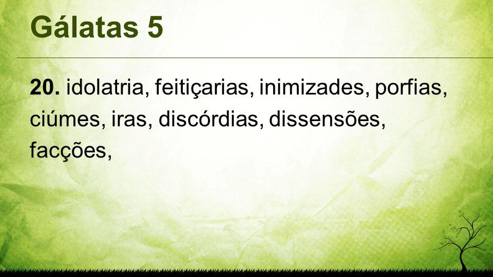 Gálatas 5 20. idolatria, feitiçarias, inimizades, porfias, ciúmes, iras, discórdias, dissensões, facções,