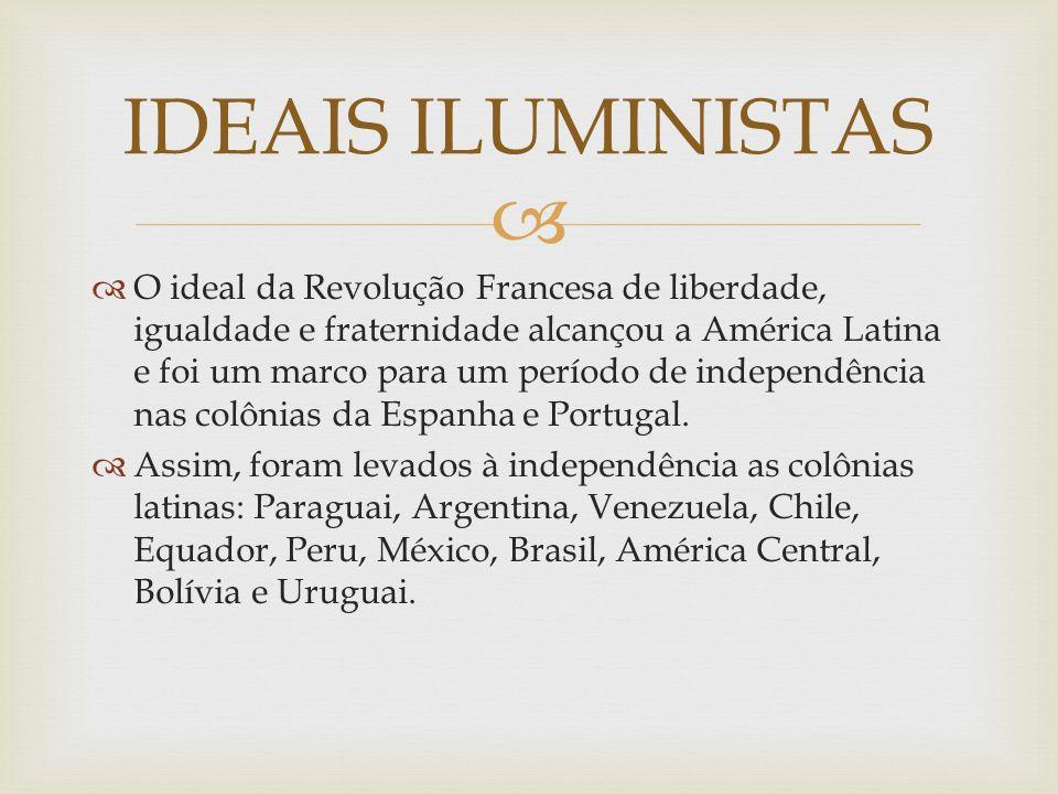 O ideal da Revolução Francesa de liberdade, igualdade e fraternidade alcançou a América Latina e foi um marco para um período de independência nas colônias da Espanha e Portugal.
