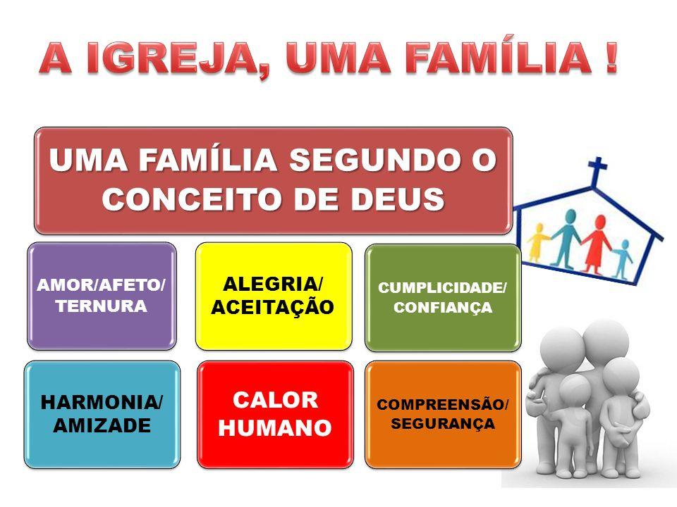 UMA FAMÍLIA SEGUNDO O CONCEITO DE DEUS AMOR/AFETO/ TERNURA HARMONIA/ AMIZADE CALOR HUMANO ALEGRIA/ ACEITAÇÃO CUMPLICIDADE/ CONFIANÇA COMPREENSÃO/ SEGURANÇA