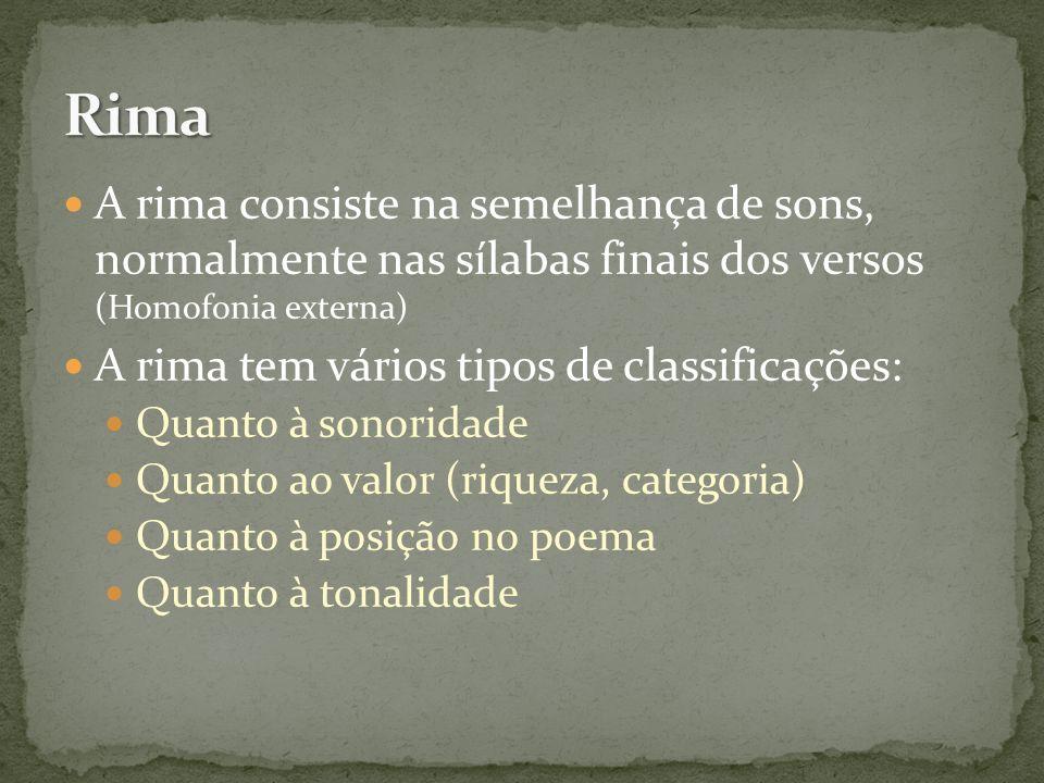 A rima consiste na semelhança de sons, normalmente nas sílabas finais dos versos (Homofonia externa) A rima tem vários tipos de classificações: Quanto