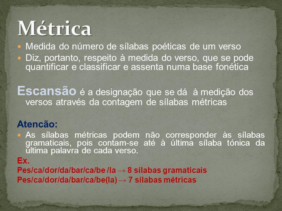 Medida do número de sílabas poéticas de um verso Diz, portanto, respeito à medida do verso, que se pode quantificar e classificar e assenta numa base