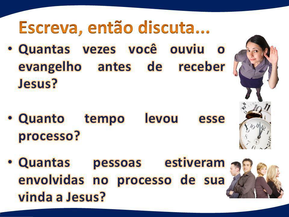 Evangelismo precisa de tempo! Geralmente muitas pessoas estão envolvidas.
