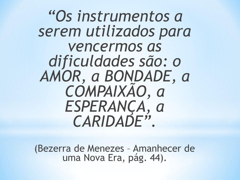 Os instrumentos a serem utilizados para vencermos as dificuldades são: o AMOR, a BONDADE, a COMPAIXÃO, a ESPERANÇA, a CARIDADE. (Bezerra de Menezes –