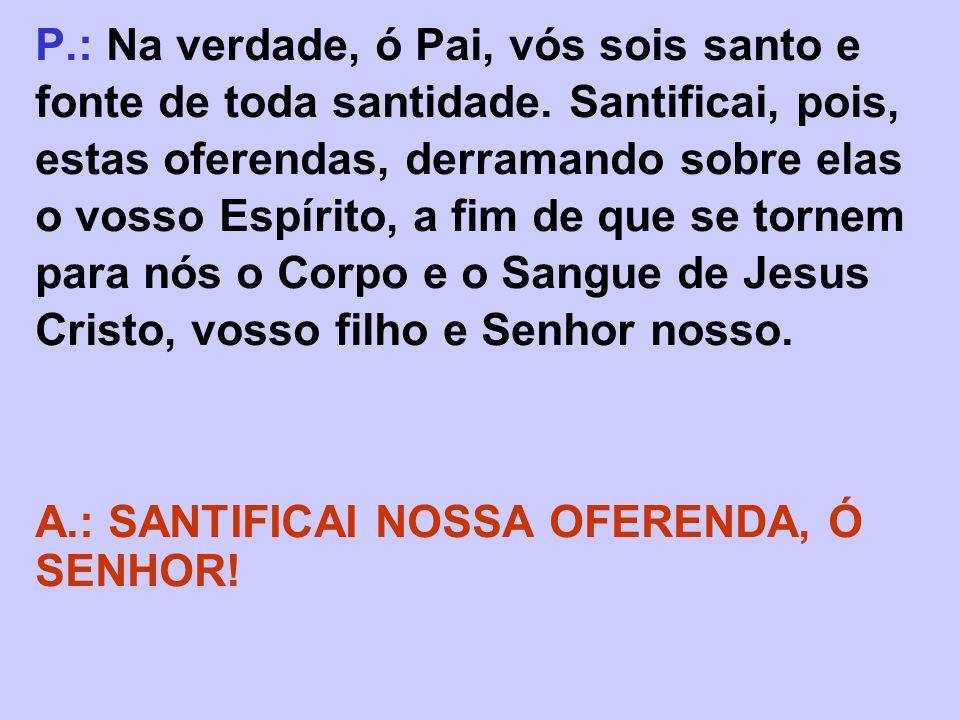 P.: Na verdade, ó Pai, vós sois santo e fonte de toda santidade. Santificai, pois, estas oferendas, derramando sobre elas o vosso Espírito, a fim de q