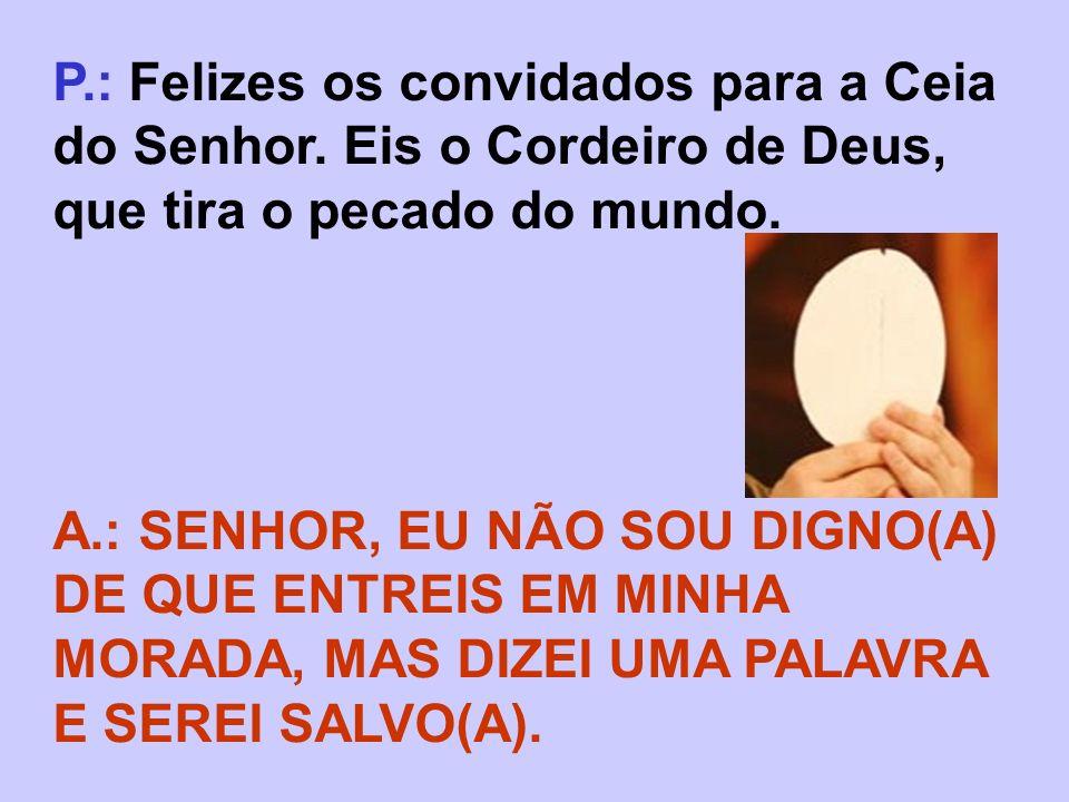 P.: Felizes os convidados para a Ceia do Senhor. Eis o Cordeiro de Deus, que tira o pecado do mundo. A.: SENHOR, EU NÃO SOU DIGNO(A) DE QUE ENTREIS EM