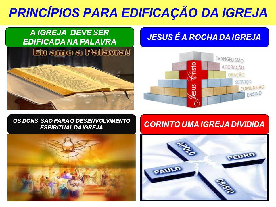 PRINCÍPIOS PARA EDIFICAÇÃO DA IGREJA A IGREJA DEVE SER EDIFICADA NA PALAVRA JESUS É A ROCHA DA IGREJA OS DONS SÃO PARA O DESENVOLVIMENTO ESPIRITUAL DA