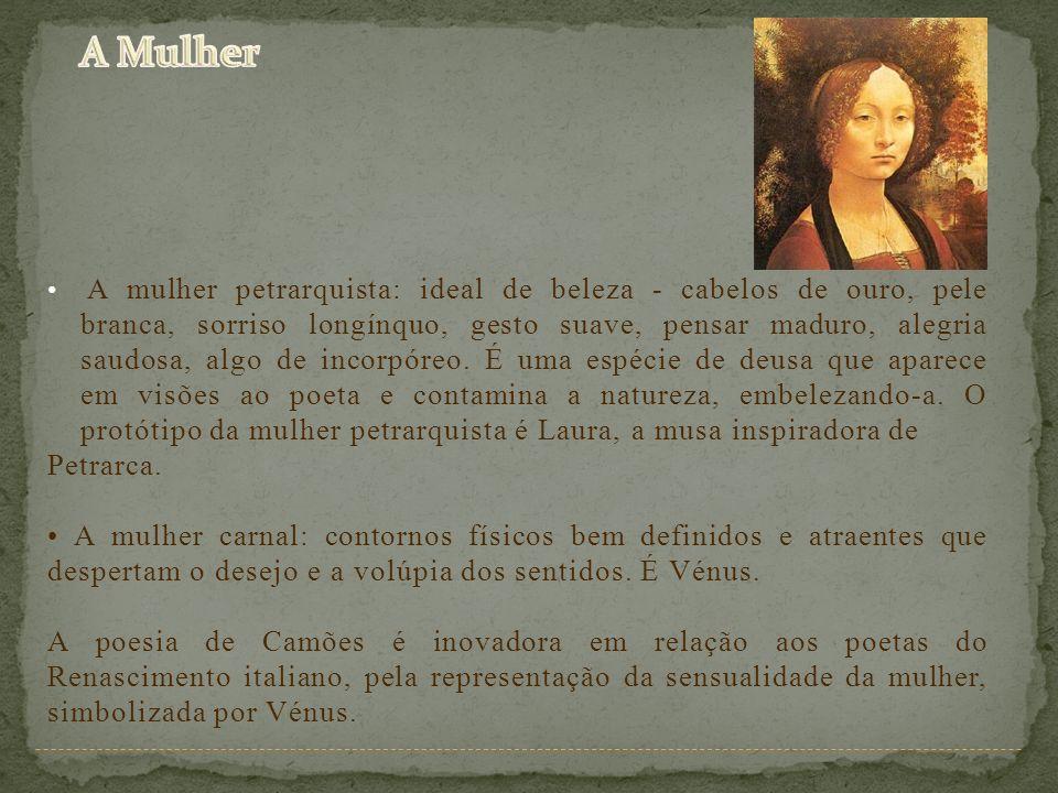 A mulher petrarquista: ideal de beleza - cabelos de ouro, pele branca, sorriso longínquo, gesto suave, pensar maduro, alegria saudosa, algo de incorpó