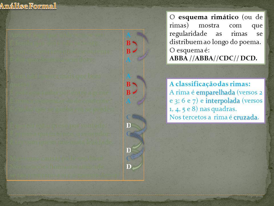 O esquema rimático (ou de rimas) mostra com que regularidade as rimas se distribuem ao longo do poema. O esquema é: ABBA //ABBA//CDC// DCD. Amor é fog