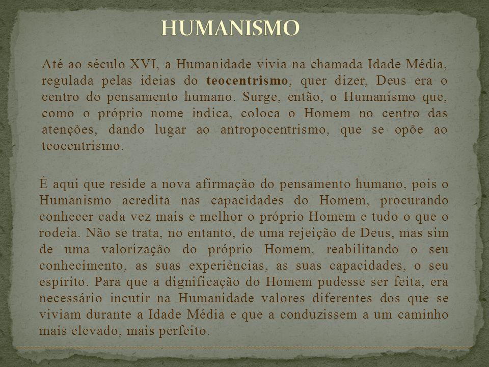 Até ao século XVI, a Humanidade vivia na chamada Idade Média, regulada pelas ideias do teocentrismo, quer dizer, Deus era o centro do pensamento human