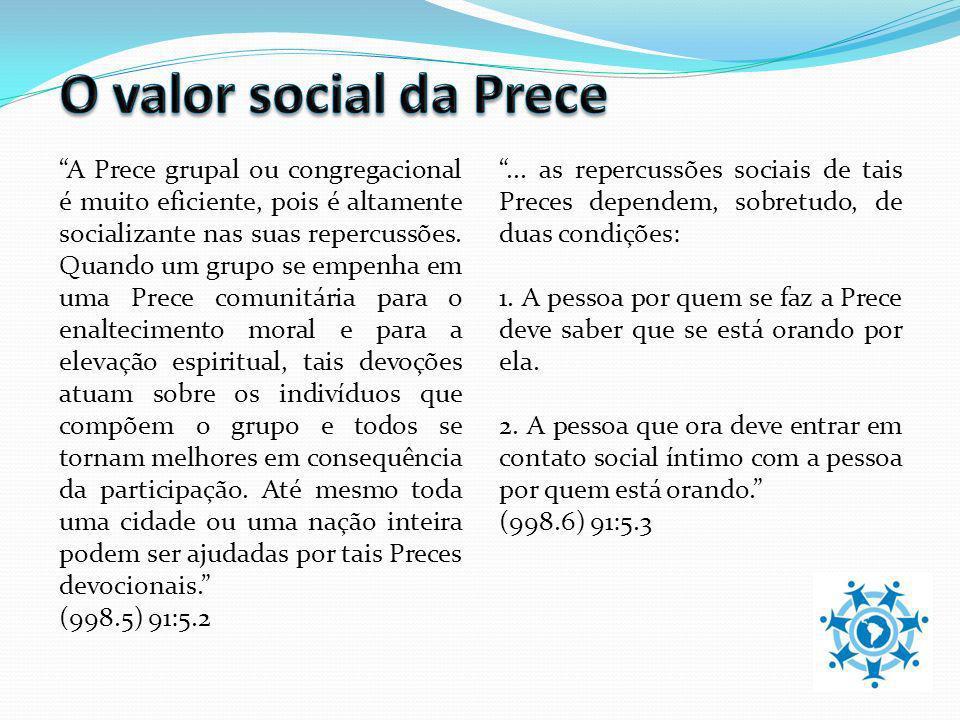 A Prece grupal ou congregacional é muito eficiente, pois é altamente socializante nas suas repercussões. Quando um grupo se empenha em uma Prece comun