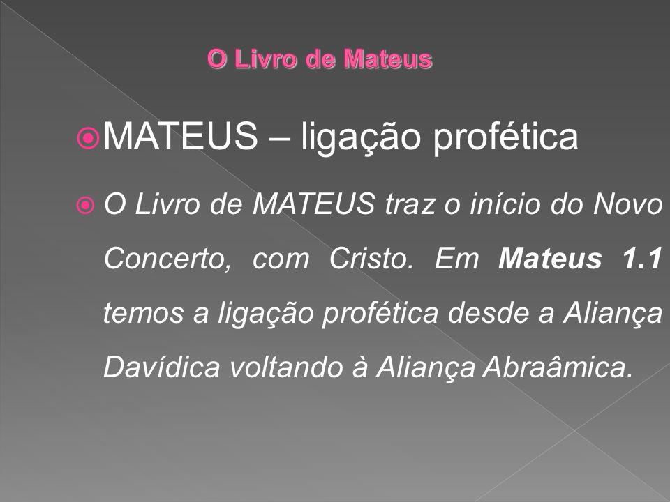 MATEUS – ligação profética O Livro de MATEUS traz o início do Novo Concerto, com Cristo. Em Mateus 1.1 temos a ligação profética desde a Aliança Davíd
