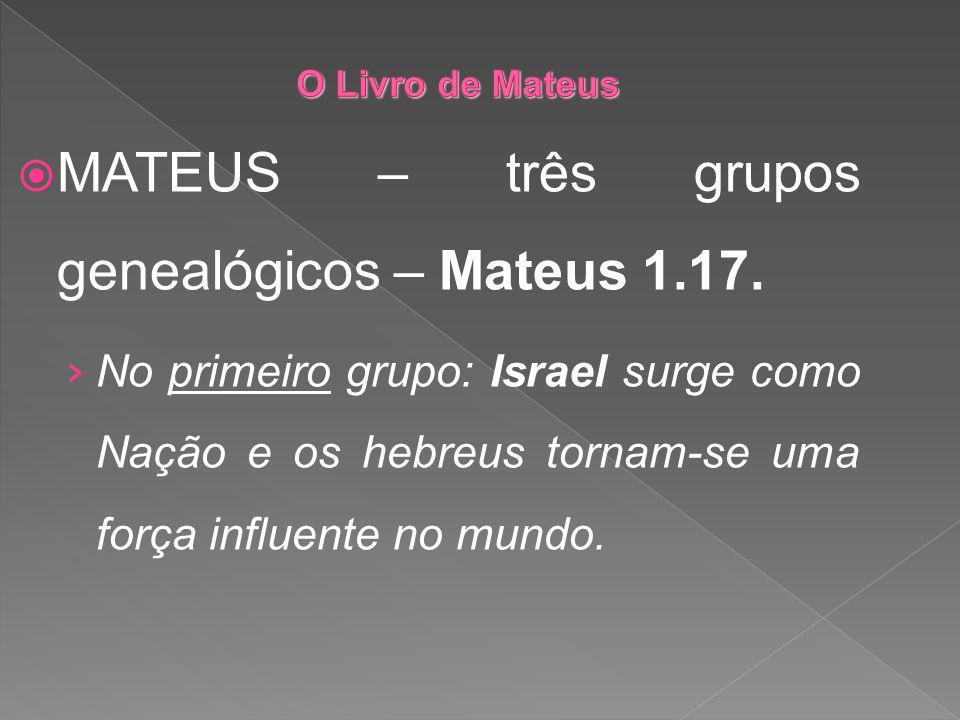 MATEUS – três grupos genealógicos – Mateus 1.17. No primeiro grupo: Israel surge como Nação e os hebreus tornam-se uma força influente no mundo.