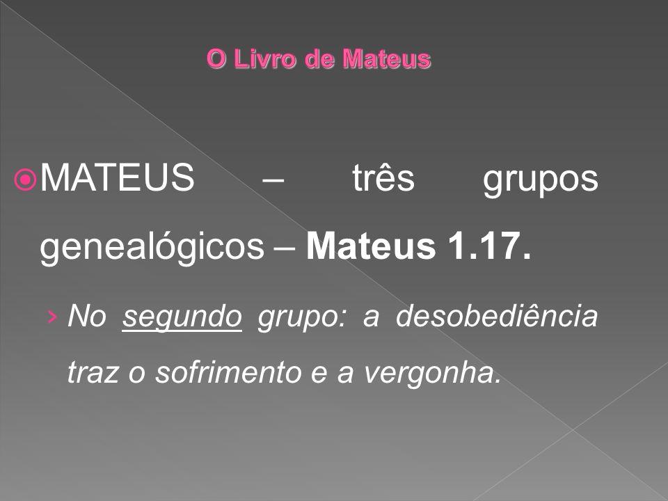 MATEUS – três grupos genealógicos – Mateus 1.17. No segundo grupo: a desobediência traz o sofrimento e a vergonha.